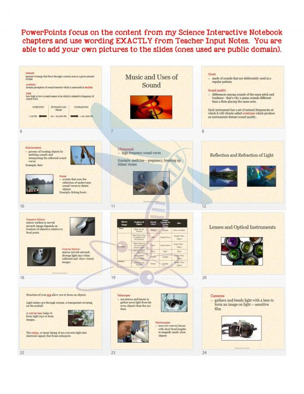 2414382 Page 5 600x776 - Sound, Light, Mirrors & Lenses: PS Notes, PowerPoint & Test ~ EDITABLE