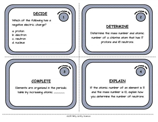 Atoms and Periodic Table Page 03 Copy 600x464 - Physical Science Task Card Bundle - 400+ task cards!