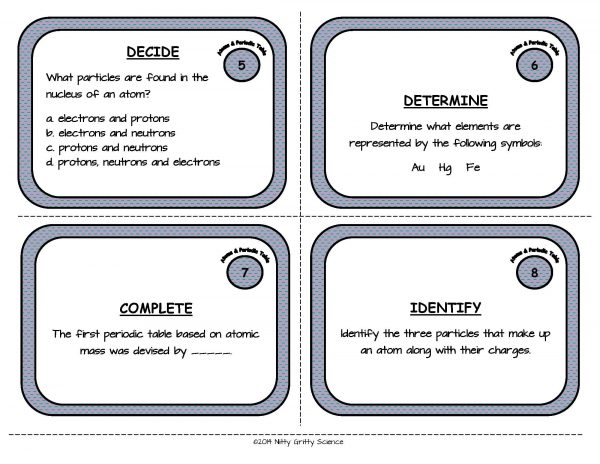 Atoms and Periodic Table Page 04 600x464 - Atoms and the Periodic Table: Physical Science Task Cards