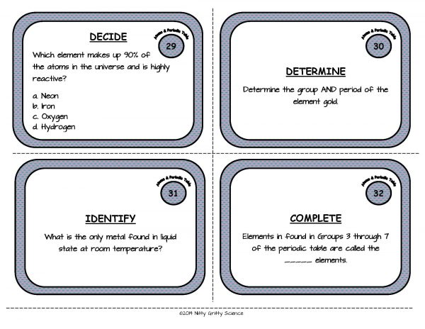 Atoms and Periodic Table Page 10 600x464 - Atoms and the Periodic Table: Physical Science Task Cards