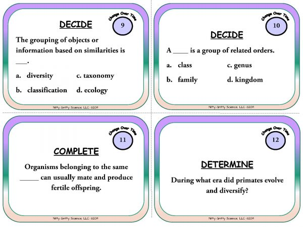 Change Over Time Page 05 600x450 - Change Over Time & Classification - Life Science Task Cards