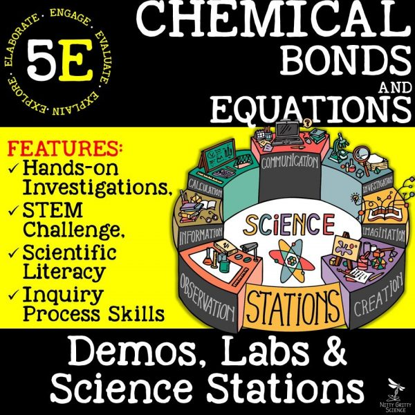 Chemical Bonds and Equations 600x600 - CHEMICAL BONDS AND EQUATIONS - Demos, Labs and Science Stations