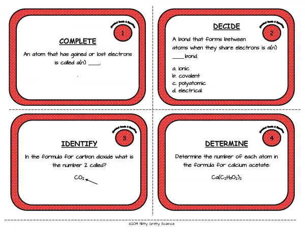 Chemical Bonds and Equations Page 03 600x464 - Chemical Bonds and Equations: Physical Science Task Cards