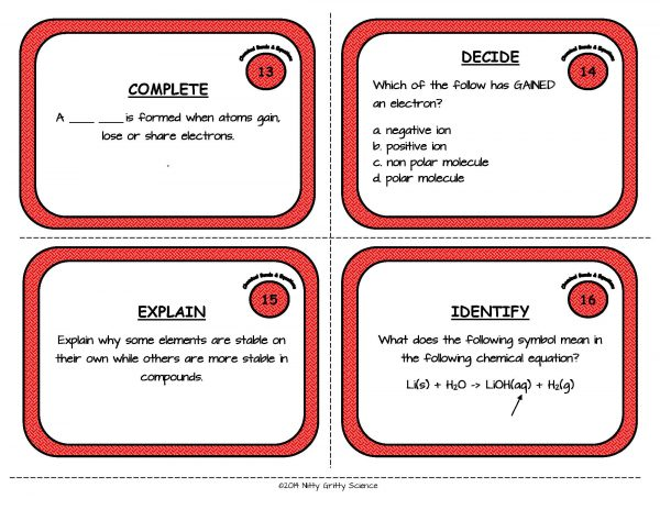 Chemical Bonds and Equations Page 06 Copy Copy 600x464 - Physical Science Task Card Bundle - 400+ task cards!