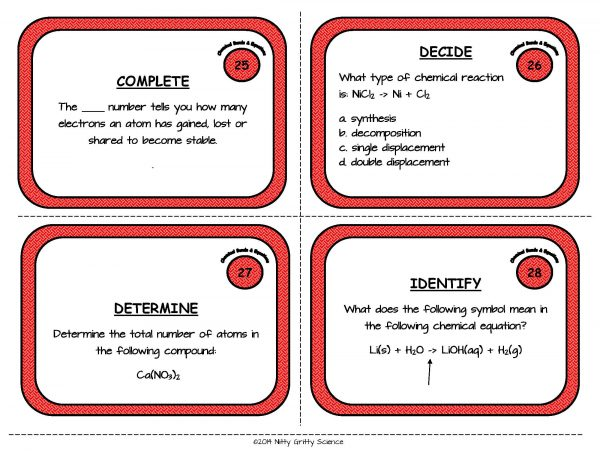 Chemical Bonds and Equations Page 09 600x464 - Chemical Bonds and Equations: Physical Science Task Cards