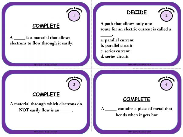 Electricity and Magnetism Page 03 600x450 - Electricity and Magnetism: Physical Science Task Cards