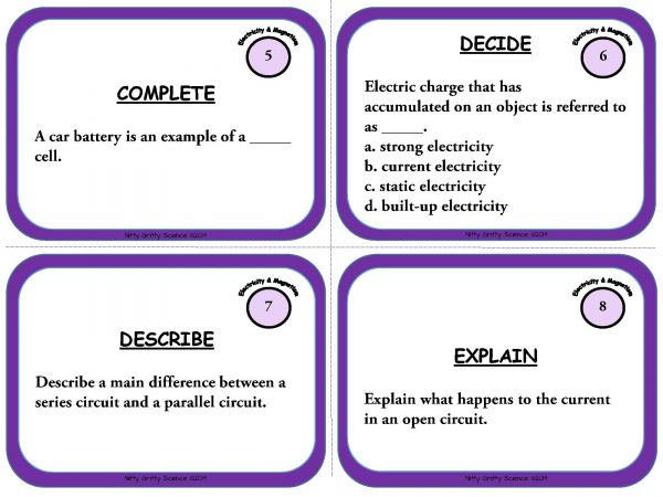 Electricity and Magnetism Page 04 600x450 - Physical Science Task Card Bundle - 400+ task cards!