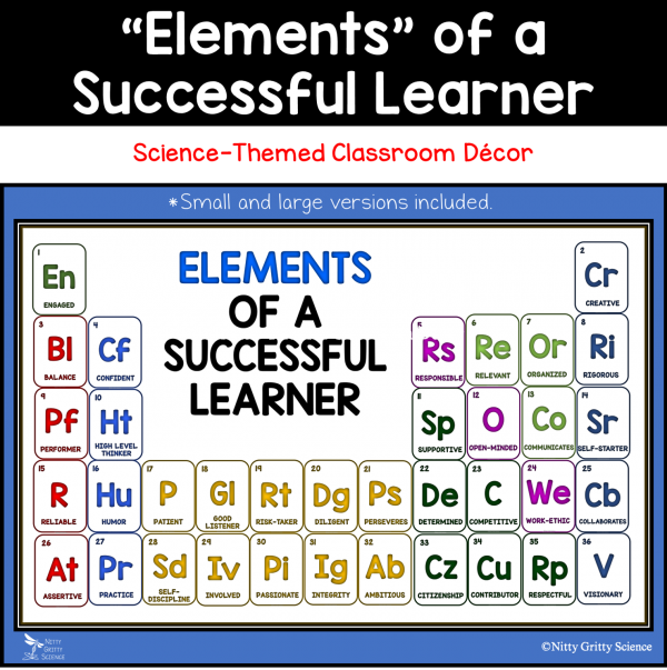 Elements of Successful Learner 600x603 - Elements of a Successful Learner - Science-themed Classroom Bulletin Board