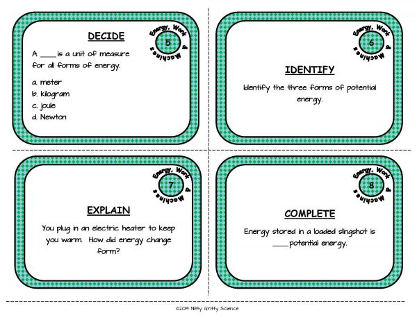 Energy Work and Machines Page 04 600x464 - Energy, Work and Simple Machines: Physical Science Task Cards