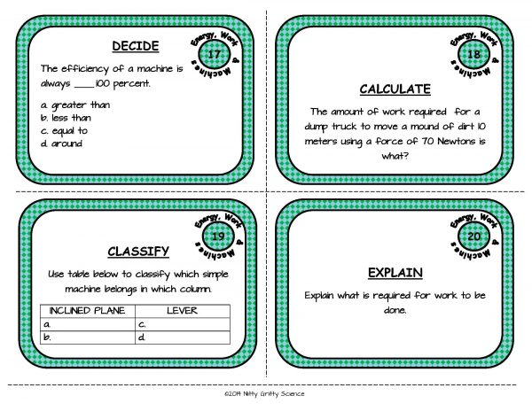 Energy Work and Machines Page 07 600x464 - Physical Science Task Card Bundle - 400+ task cards!