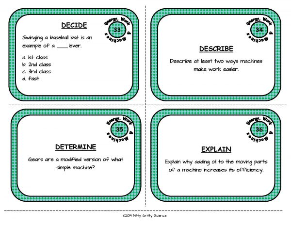 Energy Work and Machines Page 11 600x464 - Energy, Work and Simple Machines: Physical Science Task Cards