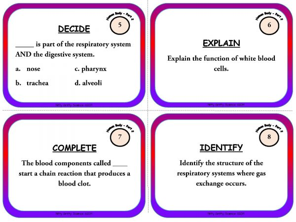 Human Body Part 2 Page 04 600x450 - Human Body: Part 2 - Life Science Task Cards
