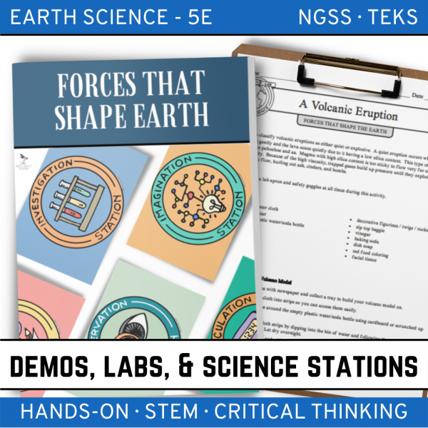 Intro to Earth Science 12 2 600x600 - FORCES THAT SHAPE THE EARTH - Demo, Labs and Science Stations {Earth Science}