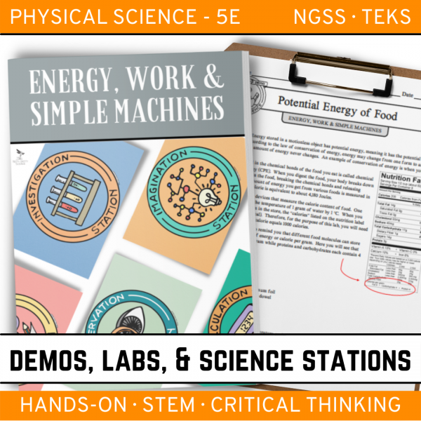 Intro to Earth Science 6 4 600x600 - ENERGY, WORK & SIMPLE MACHINES - Demo, Lab and Science Stations