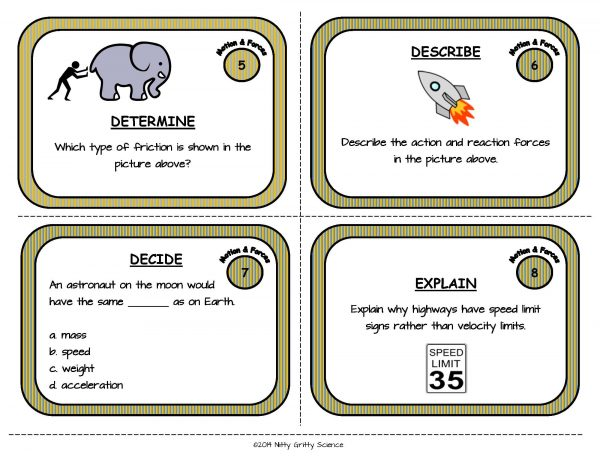 Motion and Forces Page 04 600x464 - Force and Motion: Physical Science Task Cards