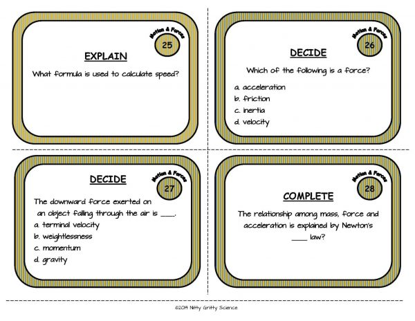 Motion and Forces Page 09 600x464 - Force and Motion: Physical Science Task Cards