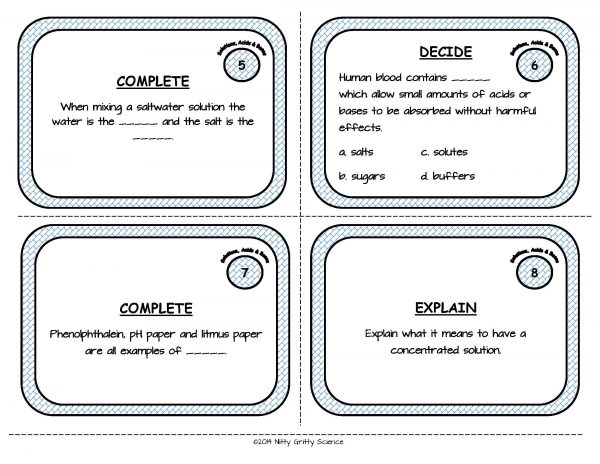 Solutions Acids and Bases Page 04 600x464 - Solutions, Acids and Bases: Physical Science Task Cards