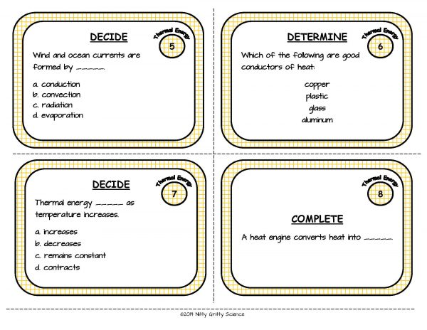 Thermal Energy Page 04 600x464 - Thermal Energy: Physical Science Task Cards