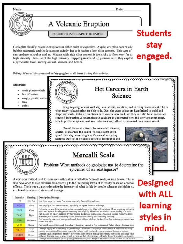 demoPreviewForcesthatShapetheEarth 1 Page 5 600x800 - FORCES THAT SHAPE THE EARTH - Demo, Labs and Science Stations {Earth Science}