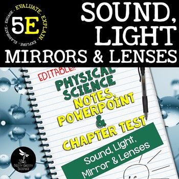 original 2414382 1 - Sound, Light, Mirrors & Lenses: PS Notes, PowerPoint & Test ~ EDITABLE