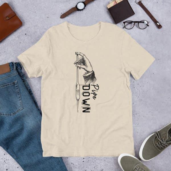 unisex staple t shirt heather dust front 610d6d90e6d3e 600x600 - Pipe Down