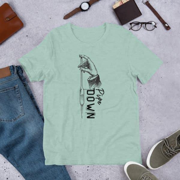unisex staple t shirt heather prism dusty blue front 610d6d90d1b7a 600x600 - Pipe Down