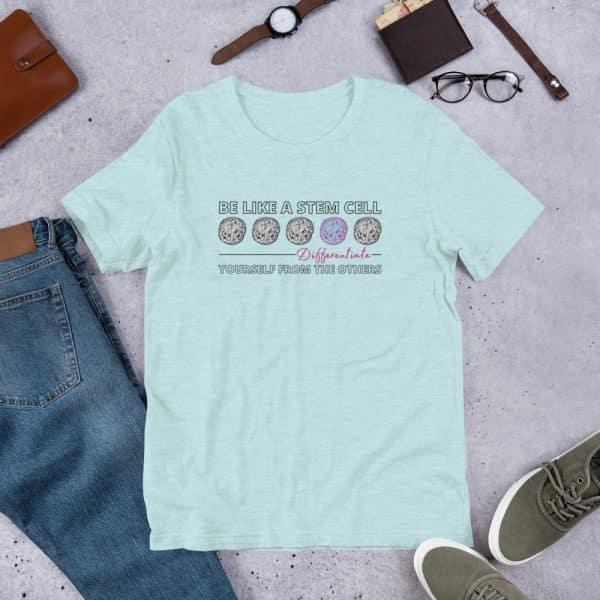 unisex staple t shirt heather prism ice blue front 610d62de59e81 600x600 - Be Like a Stem Cell