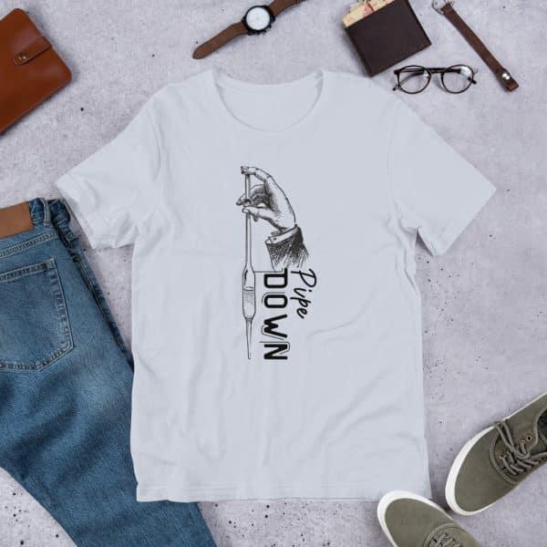 unisex staple t shirt light blue front 610d6d90e3372 600x600 - Pipe Down