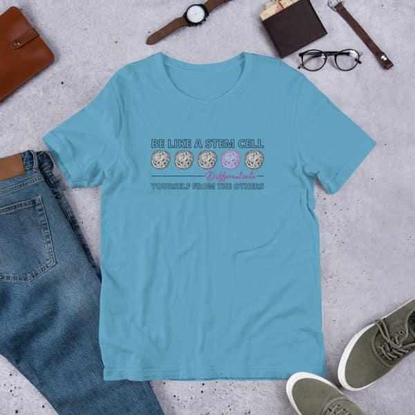 unisex staple t shirt ocean blue front 610d62de57675 600x600 - Be Like a Stem Cell