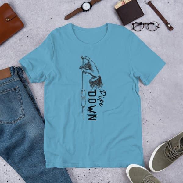 unisex staple t shirt ocean blue front 610d6d90cf328 600x600 - Pipe Down