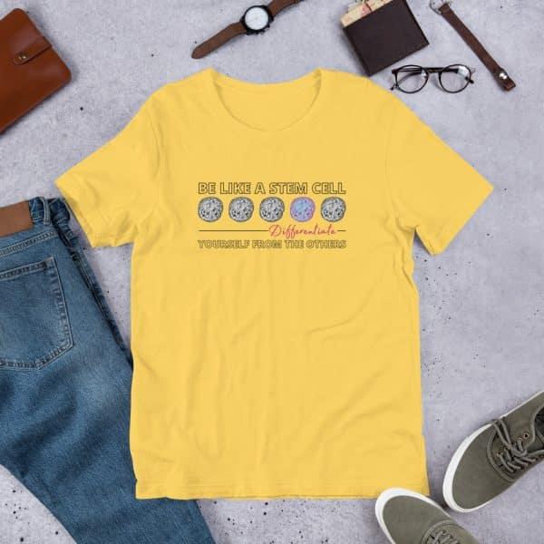 unisex staple t shirt yellow front 610d62de58499 600x600 - Be Like a Stem Cell