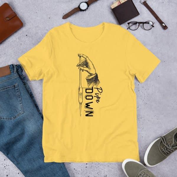 unisex staple t shirt yellow front 610d6d90e0772 600x600 - Pipe Down