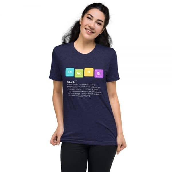 unisex tri blend t shirt navy triblend front 610d525019d9d 600x600 - TeAcHEr t-shirt