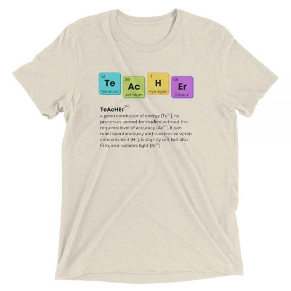 unisex tri blend t shirt oatmeal triblend front 610d58b618eab 600x600 - TeAcHEr t-shirt