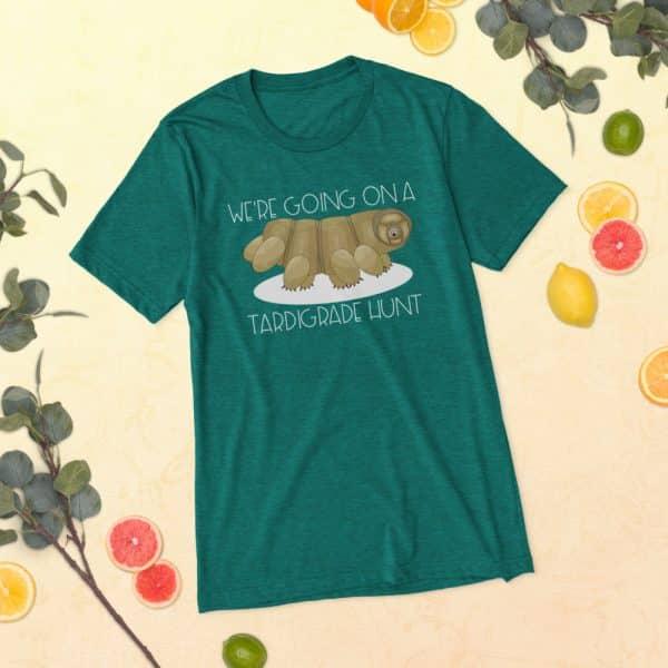 unisex tri blend t shirt teal triblend front 60ef32429501b 600x600 - Going on a Tardigrade Hunt